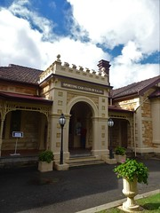 Wayville. The crenulated Gothic entrance to Mawson House built in 1909.  This fine stone house was built in the Queen Anne federation style. It is now the home of the Sporting Car Club of South Australia.
