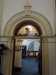 Wayville. Decorative hallway arche and leadlight glass in Mawson House built in 1911. Now the headquarters and library of the Sporting Car Club of South Australia..