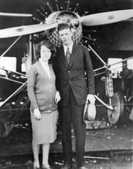 Morrow_0536 Georgie Mathias and Charles Lindbergh at Ryan factory 1927
