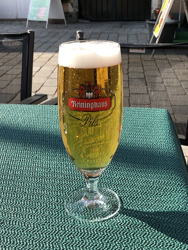 Reininghaus Pils, beer in the afternoon sun, Hauptplatz, Frohnleiten, Austria