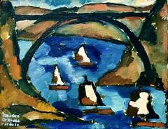 Landscape (Bridge and Boats)(1914) - Amadeo de Souza-Cardoso (1897-1918)