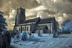 Infrared HDR St Bartholomew's church Hanworth Norfolk