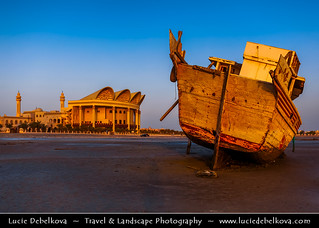 Bahrain -  Stranded Dhow if front of Shaikh Isa Library on Juffair beach