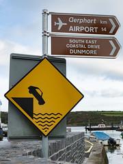 End of Pier, Suir Estuary, Caution Sign - Ireland