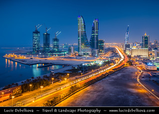 Bahrain - Manama - Financial Harbor during Blue Hour - Dusk - Twilight - Blue Hour - Night