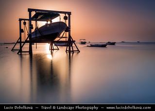 Bahrain - Sunrise Behind Hanging Boat at Askar Beach