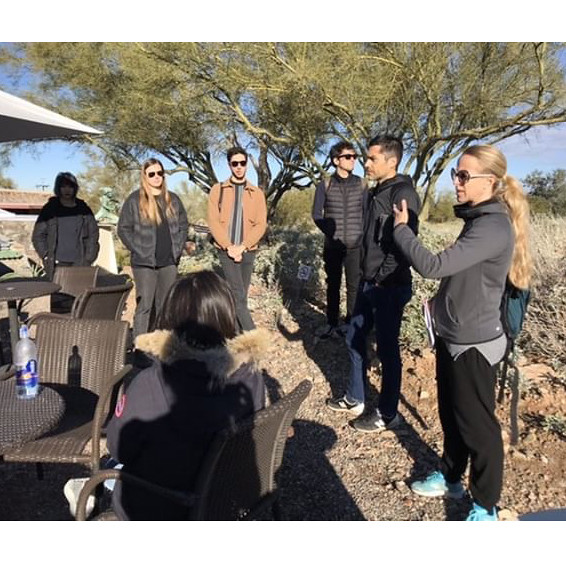 Pezo and von Ellrichshausen talk to students outside Taliesin West, the former home of architect Frank Lloyd Wright, during a class trip to Grand Canyon National Park.   photo / Oonagh Davis (B.Arch. '20)
