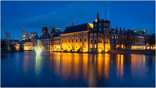 Dutch parliament building at blue hour