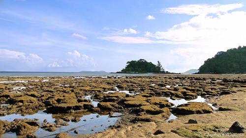 Morning view of low tide beach at Tioman Island.Malaysia