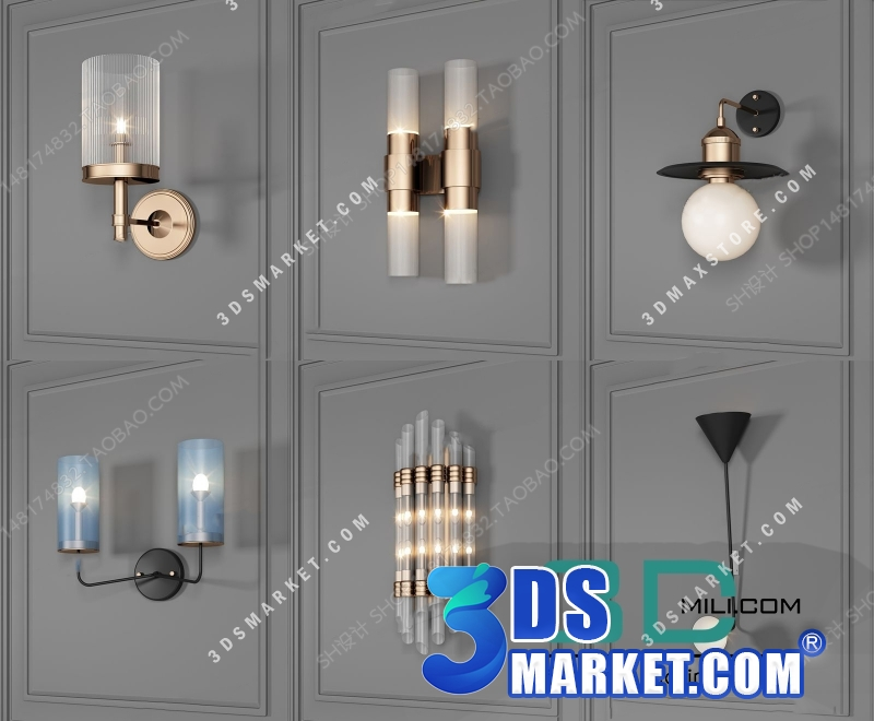 Wall Light Collection 3D Model - Part 1 - 3DS Market | Sell