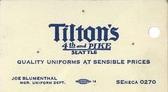 Tilton's business card, circa 1930