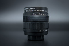 Side view of a Fujian 35mm F1.7 C-mount lens