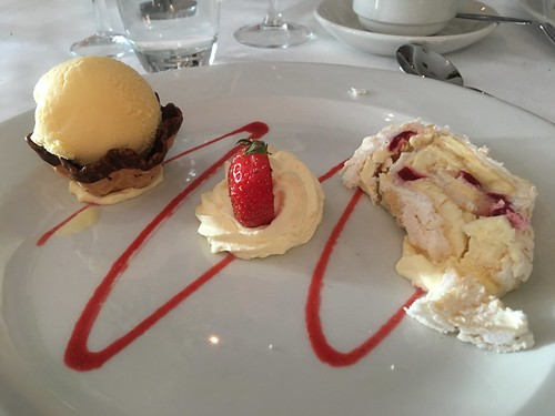 Raspberry meringue roulade, whipped cream and chocolate ice cream cone, Breaffy House Hotel