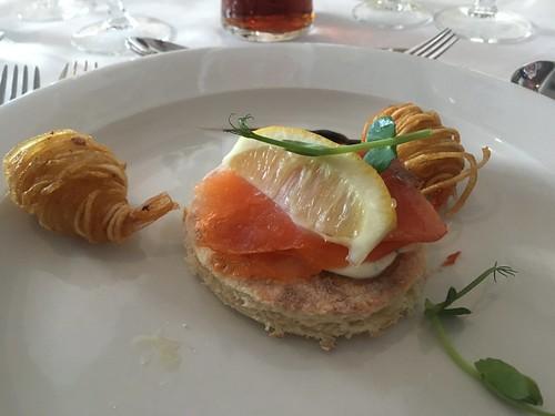 Smoked salmon potato farl with cream cheese, prawns wrapped in potato, Breaffy House Hotel