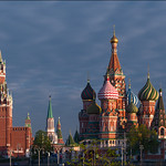 Russia. Moscow. Saint Basil's Cathedral and Spasskaya tower.