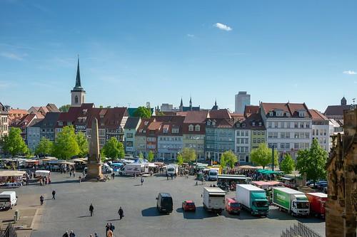 Market day ... seen in Erfurt, Germany