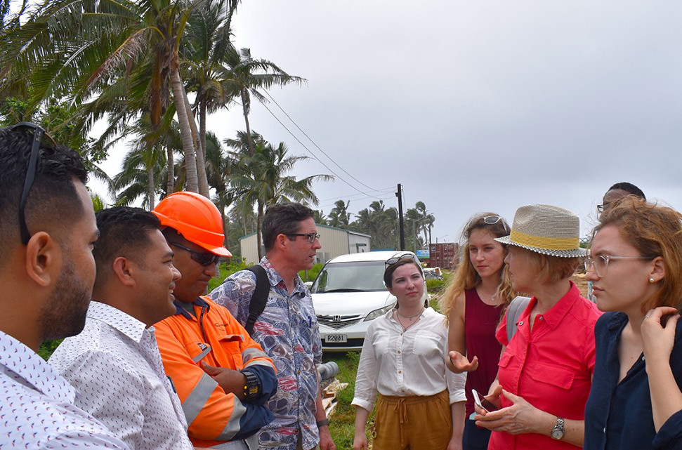 City and regional planning students traveled to Tonga over spring break for their International Planning and Development Workshop led by Visiting Lecturer Gerard Finin, where they met with community members to discuss and examine the effects of climate change.  photo / Gerard Finan