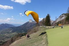 Paraglider taking  off @ Takeoff area for paragliders @ Col de la Forclaz @ Hike around Pointe de Chenevier