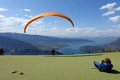 Taking off @ Takeoff area for paragliders @ Col de la Forclaz @ Hike around Pointe de Chenevier