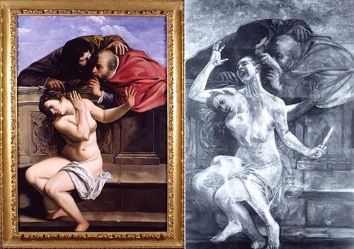 Susanna and the Elders, Restored (Left)  Susanna and the Elders, Restored with X-ray (Right)  Kathleen Gilje, 1998