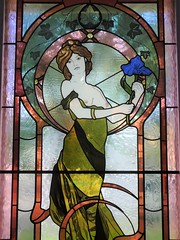 Wayville. Stained glass window in Mawson House which was built in 1909 for George Branson a chaff miller. This panel was probably added in the 1960s when  Bernard Vigor's  French restaurant operated in the house.