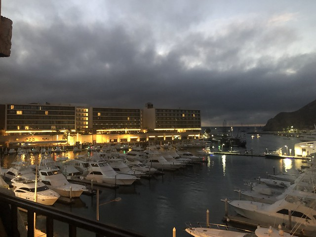 Storm clouds over the marina in Cabo San Lucas