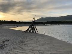 Teepee at sunrise on the Carmel River Lagoon