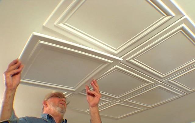 Embossed Ceiling Tiles Add Elegance to a Room • Ron Hazelton Online • DIY Id…