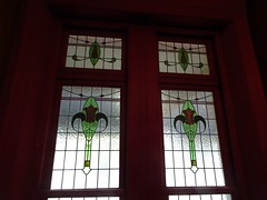 Wayville on King William Road. Stained glass or leadlight window in Mawson House entrance foyer . It was built in 1909 in Queen Anne and Art Deco style.