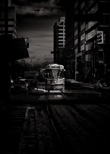 The 512 St. Clair Streetcar Toronto Canada Toned Version