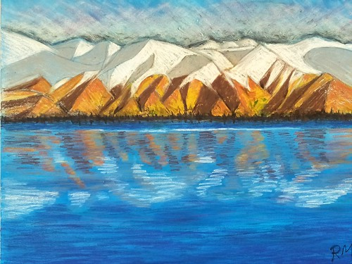 Just finished my latest painting. Mixed media, acrylic and oil pastels. Painting of a South Island lake in New Zealand