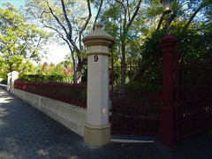 Gilberton. The fence and entrace gate at 9 Edwin Terrace to Ivanhoe the home of Sir George Brookman. He built the houseand entrance gate  in 1889.