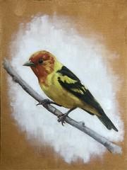 Bird #3. Oil on gesso board.