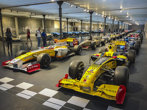 Modern F1 grid display at Cité de l'Automobile, the home of the fabulous Schlumpf automobile collection in Mulhouse, France