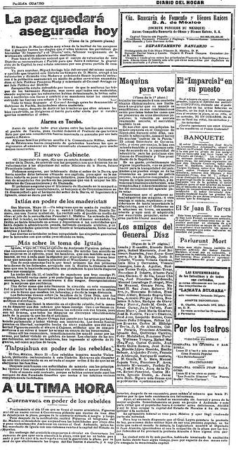 1911 05 22  La paz quedará asegurada hoy (Diario Del Hogar). Página 4
