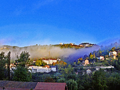 Villages of France. Lamastre (Ardèche). The village is emerging from mist.