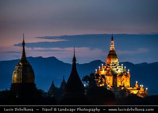 Myanmar (Burma) - Magic Blue Hour over Temples of Bagan