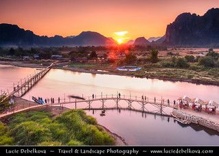 Laos - Sunrise over Bamboo Bridge in Vang Vieng