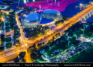 Singapore -  View from above - Night View of Esplanade - Theatres on the Bay