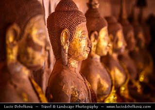 Laos - Vientiane - Aged Face of Buddha Statue in Wat Si Saket Monastery