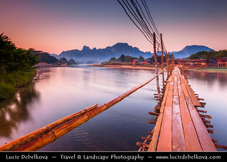 Laos - Vang Vieng - Sunrise over Bamboo Bridge