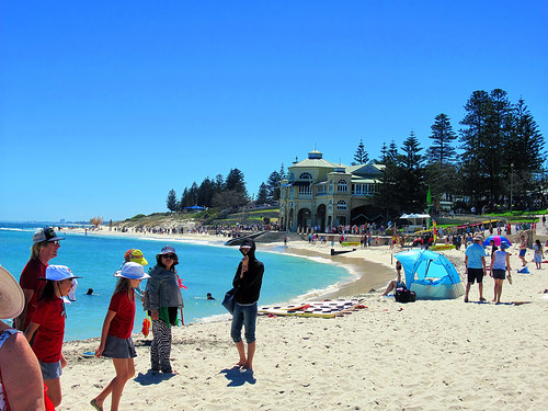 12 March 2019 - Crowds and exhibits along the beach at the 'Sculpture by the Sea' event, Cottesloe, Perth, Western Australia