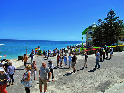 12 March 2019 - Crowds enjoying the 'Sculpture by the Sea' event at Cottesloe, Perth, Western Australia