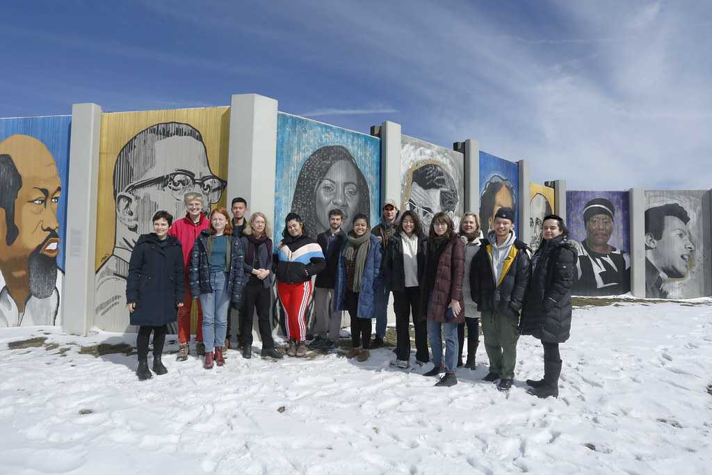 Students at the Freedom Wall mural, part of the ongoing Albright-Knox Art Gallery Public Art Initiative in Buffalo.  photo / William Staffeld