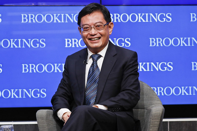 Singapore's Finance Minister Heng Swee Keat participates in the discussion.