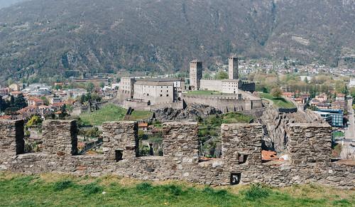 Looking at Castelgrande from Montebello Castle