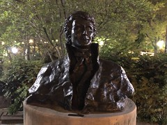 Pretty / famous: Francis Scott Key, memorial bust in park, M Street NW, Washington, D.C.