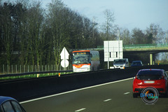 Un Seine-et-Marne express (ligne 18) circulant sur l'A4 Coutevroult le 16/03/19.