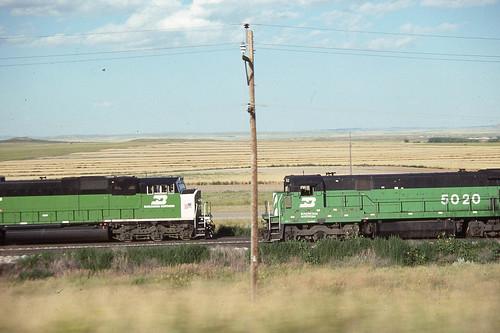 BN C30-7 #5020 meets a train near Glendo WY on 7-27-91
