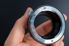 Front view of a Nikon F to Micro Four Thirds adapter